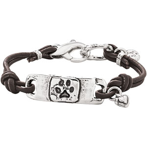 Pawprint Leather Cord Bracelet